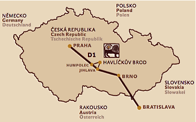 Map of the Czech Republic with the mark of the Golden Lion Hotel location in Havlíčkův Brod, in the Highland region, on the halfway between Prague and Brno.